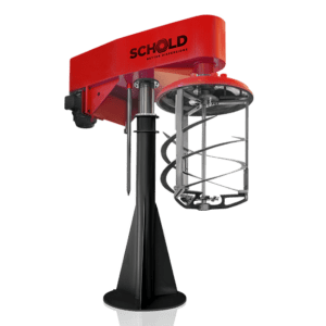 Schold post-mount mixer disperser multi-shaft coaxial twin shaft lifting helix and side wall scrapers