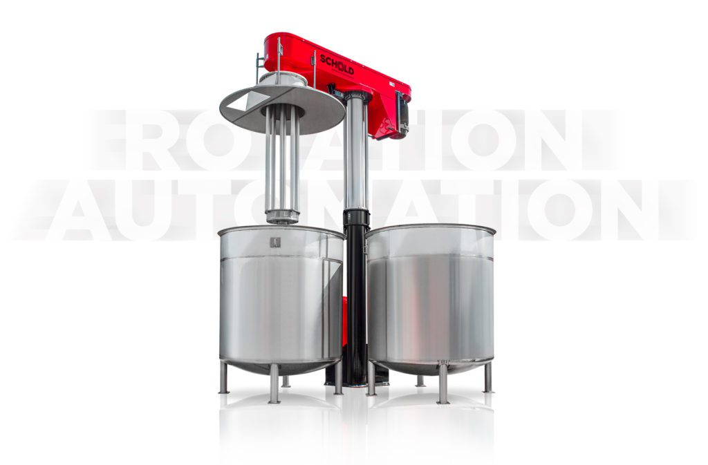 rotor stator two position mixer tanks emulsify disperse rotation automation
